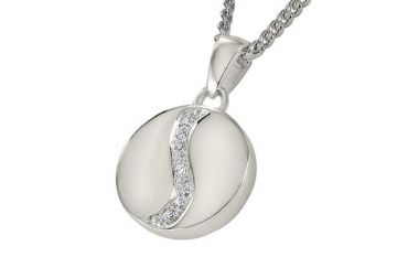 Sterling Silver Round Pendant with Crystal Detail - £195.00