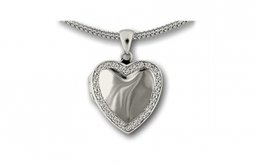 Sterling Silver Heart Locket with Crystal Border £210.00
